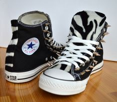 online retailer 4b5fe c48d4 Adult, Custom Spiked Converse with faux zebra fur - made to order, any size