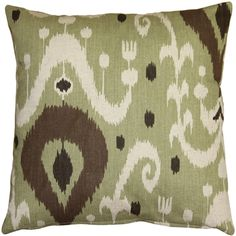 Indah Ikat Green 20x20 Throw Pillow A great contemporary take on a Traditional Indonesian Ikat.