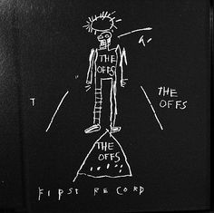 "Skot Foreman Gallery  Jean-Michel  Basquiat  ""Offs""  1984 Offset lithograph    12 x 12 in  30 x 30 cm Limited edition of 2500 Printer: Stoughton Inc. Los Angeles, CA  Publisher: Buried Treasure, Inc.  (David Ferguson)"