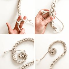 DIY Finger Knit Rope Trivet Tutorial - Flachs & Schnur - Fingerknit Trivet-How to 3 - Diy Finger Knitting, Finger Knitting Projects, Arm Knitting, Baby Knitting Patterns, Crochet Projects, Crochet Patterns, Scarf Patterns, Knitting Machine, Knitting Tutorials