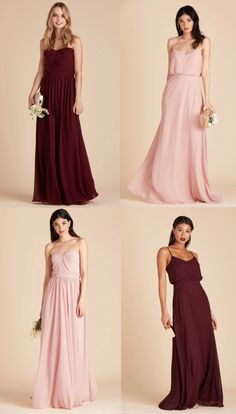 Rose Pink and Red Bridesmaid Dresses Cabernet and Rose Quartz Dresses to Mix and Match from Birdy Grey Pink Bridesmaid Dresses Short, Red Bridesmaids, Bridesmaid Gowns, Wedding Dresses, Rose Quartz Dress, Burgundy Wedding, Red Wedding, Wedding Goals, Wedding Ideas