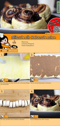 Blitzschnelle Kakaoschnecken These lightning-fast cocoa snails are ready in no time and taste delicious. Lightning fast cocoa snails recipe video is easy to find using the QR code :] pastry # Puff recipe Mini Desserts, Delicious Desserts, Yummy Food, Tasty, Baking Recipes, Cookie Recipes, Dessert Recipes, Puff Pastry Recipes, Cacao