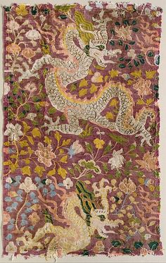 Tapestry with Dragons and Flowers | Eastern Central Asia | The Met