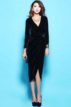88b1177649 Deep V Neck Long Sleeve Dress Black Velvet Dress Long
