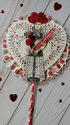 Valentine Lollipop Card created by Brenda Enright using Character Constructions Doll Stamps by Catherine Moore.