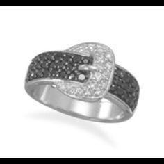 Rhodium Plated Cz Belt / Buckle Ring