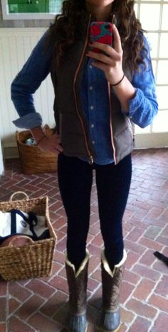 vest, chambray shirt, skinny jeans and boots