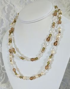 Crystal and Pearl Double-Stranded Necklace
