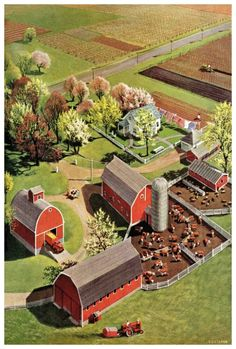 Country Barns, Country Life, Cenas Do Interior, Red Barn Painting, Painting Canvas, Casas Country, Farm Layout, Barn Pictures, Future Farms