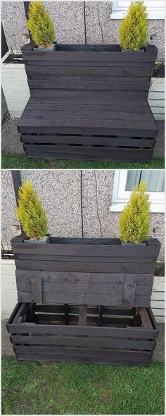 You can make this beautiful bench which contains storage space and also planters. There are two plants placed in it and you can save lots of things kept in storage space.