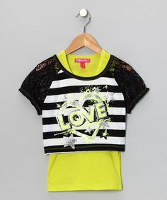 Take a look at this Lime & Black Stripe 'Love' Crop Top & Tank - Toddler by Cherry Stix on #zulily today!