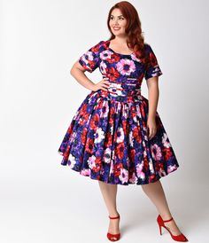 0a9f446949b Plus Size Retro Dresses Purple Floral Roman Holiday Sleeved Scallop Swing Dress  Vintage Style Outfits
