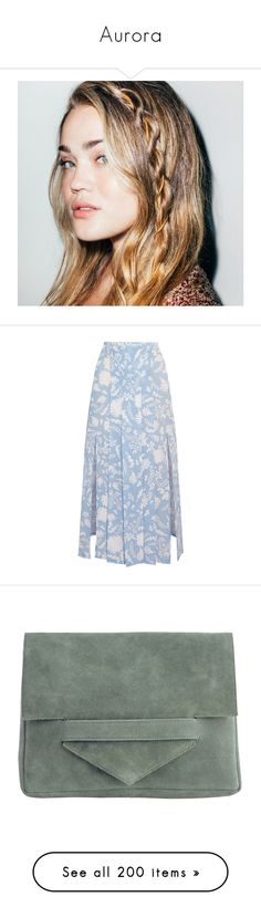 """""""Aurora"""" by rosiemariposa ❤ liked on Polyvore featuring skirts, light blue, light blue pleated skirt, side slit skirt, knee length pleated skirt, light blue skirts, blue silk skirt, bags, handbags and clutches"""