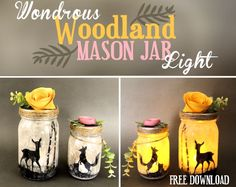 Make these beautiful woodland themed mason jar lights using our free patterns!  FULL PHOTOS AND PATTERNS HERE SUPPLIES      1 quart and 1 pint mason jar     X-a…