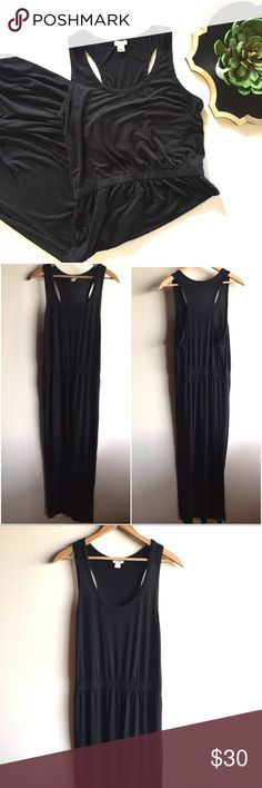 """J.  Crew black stretch racerback maxi dress Soft and stretchy tank maxi dress with a racerback and a side slit. Elastic waist, Pullover style. Gently worn in good condition. Measures 20"""" from underarm to underarm and 61"""" long. From J. Crew factory. J. Crew Dresses Maxi"""