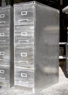 Four Drawer Vintage Brushed Steel File Cabinet Http Www Etsy