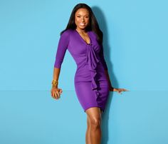 Jennifer Hudson: I'm Prouder Of My Weight Loss Than My Oscar! | The Young, Black, and Fabulous Purple Door, Jennifer Hudson, Angel Pictures, Proud Of Me, Purple Rain, Life Inspiration, Purple Dress, Bodycon Dress, High Neck Dress