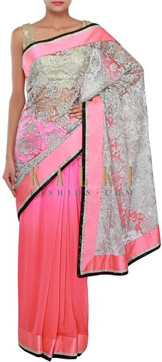 Buy Online from the link below. We ship worldwide (Free Shipping over US$100) http://www.kalkifashion.com/half-and-half-saree-in-silver-and-coral-adorn-in-zari-embroidery-only-on-kalki.html