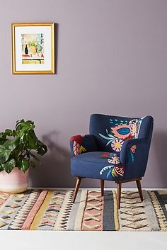 Salon Chair In Lavender Vine By Mary Lynn Oshea