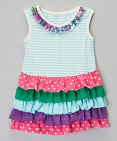 Loving this Be Girl Clothing Blue & Pink Layered Ruffle Tunic - Infant, Toddler & Girls on #zulily! #zulilyfinds