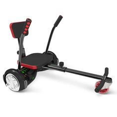 """Go Kart For The All Terrain Hoverboard - Hammacher Schlemmer. This device converts a hoverboard (sold separately) to an adjustable-length (22""""- to 45""""-long) seated cart with an illuminated, swiveling front wheel, foam handlebars that provide a confident grip, curved footrests for superior shoe traction, and an adjustable-height backrest for comfort."""