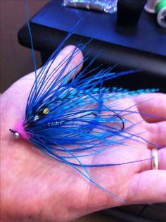 """#steelhead fly"""" blue balls intruder tied by Stephen Vandervort."""