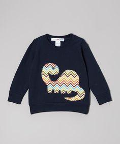Navy Zigzag Dinosaur Sweatshirt - Toddler & Boys #zulily #zulilyfinds