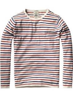Striped crew neck pull with button shoulder closure - Pulls - Scotch & Soda Online Shop