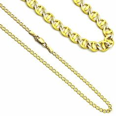 3mm 14K Yellow Gold White Gold Two Tone Mariner Link Chain Necklaces * See this awesome image @