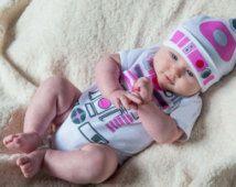 Girls R2D2 Bodysuit Newborn Outfit R2D2 OnePiece Newborn Onepiece  R2D2 Outfit R2D2 Baby Shower Gift by Retrostate