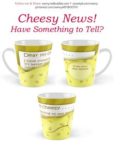 Cheesy News: Have Something to Tell? Tall Mugs by We~Ivy Yellow Paper, Presents For Friends, Good Cause, To Tell, Travel Mug, Ivy, Coffee Mugs, Messages, Cheese