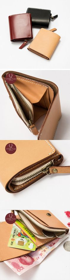 Handmade leather vintage women short wallet clutch purse wallet