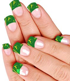 LOVE these John Deer nails!!!!!! I would do it......but seriously how do people have their nails that long? How do you get anything done? It would drive me insane! But super cute:)