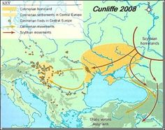 The movements of the Cimmerians (Cunliffe the literary home of Conan, the Barbarian. Eurasian Steppe, Regions Of Europe, Asia Map, Blue Green Eyes, Prehistory, Historical Maps, Barbarian, Cartography, Big Bang Theory
