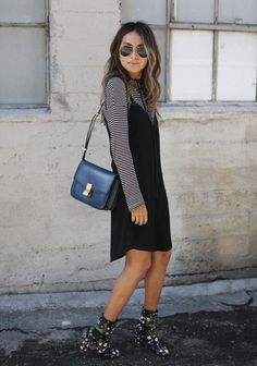 Julie Sarinana + mix prints + black and white striped tee + fun floral pattern + gorgeous black boots + tee and slip dress + laid-back spring style! Slip Dress Outfit, Black Dress Outfits, Slip Dresses, Black Slip Dress, Dress Shoes, Swag Dress, White Outfits, Knit Dress, Shoes Heels