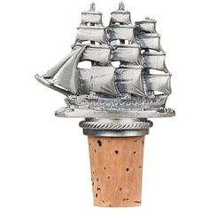 $17.61-$18.11 Sailing Ship - Pewter Wine Bottle Bottle Stopper - 20-311 - Breathtaking effects enhance this intricately detailed clipper ship ornament.     This Collectible Pewter Wine Bottle Stopper will look great atop any wine bottle.  It is heavy--about 6 ounces--and includes a ring and chain to keep it associated with the proper bottle. http://www.amazon.com/dp/B0012UV0YW/?tag=pin2wine-20
