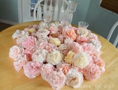 Two Shades of Pink: Coffee Filter Flowers and Video Tutorial. Made these for a friend's bridal shower and they received so many complements. Could work for reception centerpieces.