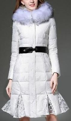 Fur Hooded Lace-Cover Puffer Down Coat - (White, Grey, Black)