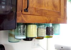DIY Mason Jar Storage - Kitchen Jar Organizers - Click Pic for 44 Easy Organization Ideas for the Home organizing with mason jars! Small Space Organization, Kitchen Cabinet Organization, Kitchen Organization, Organization Hacks, Kitchen Storage, Organized Kitchen, Cabinet Storage, Bathroom Storage, Cupboard Organizers
