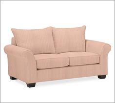 PB Comfort Roll UpholsteredLoveseat Knife-EdgeTicking StripeCardinalUpholsteredDown Blend