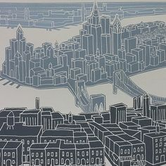 awesome screenprint of nyc and would be perfect in the color scheme i'm shooting for in my bedroom