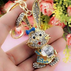 Lovely Bow Rabbit with Crystal Rhinestone Car Bag Key Chain Jewelry