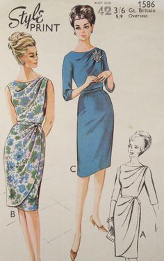 60's Style 1586 Draped Dress c/c 10pcs Bust Sz42 W35 H45 An elegant pattern by Style:Classically draped dress with or w/o overskirt.Sleeved or sleeveless 13.56+7.63 sld 7/24/14