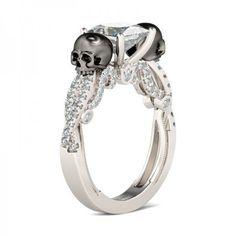 Jeulia Twist Milgrain Princess Cut Created White Sapphire Skull Ring