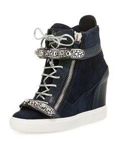 Giuseppe Zanotti for Jennifer Lopez Tiana Crystal High-Top Wedge Sneaker,  Navy c4a5eb663bd7