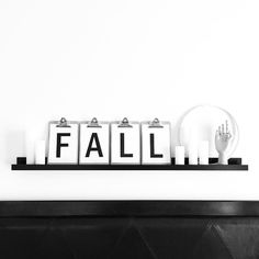 See this Instagram photo by @vee.zel • Fall decor | Autumn decor | Bedroom decor | Shelf styling | Shelfie | Shelf Styling | Clipboard art | Word decor | Seasonal decor | Black and white | Scandinavian style