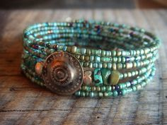 Turkman Button and BlueGreen Glass Mix Beaded Charm by yuccabloom