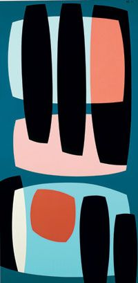 Karl Benjamin - Black Pillars, 1957  48 x 24 in. oil on canvas