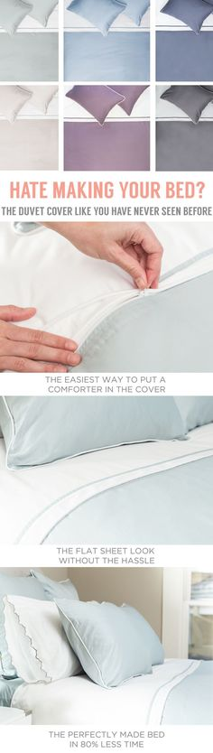 The easiest and fastest way to make your bed. As seen on the New York Times. – i Love Organizing – Grandcrafter – DIY Christmas Ideas ♥ Homes Decoration Ideas Home Bedroom, Master Bedroom, Bedroom Decor, Bedroom Ideas, Bedroom Retreat, Dream Bedroom, Make Your Bed, How To Make Bed, Boudoir