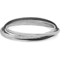Sterling Essentials Two Tone Silver 7 inch Pave CZ Black & White... ($72) ❤ liked on Polyvore featuring jewelry, bracelets, silver hinged bracelet, silver bangle set, silver jewelry, cz jewelry and pave bangle bracelet